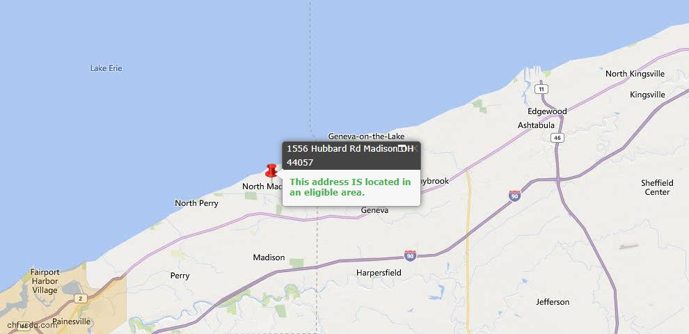 USDA Loan Eligiblity Map - 1556 Hubbard Rd, Madison, OH 44057