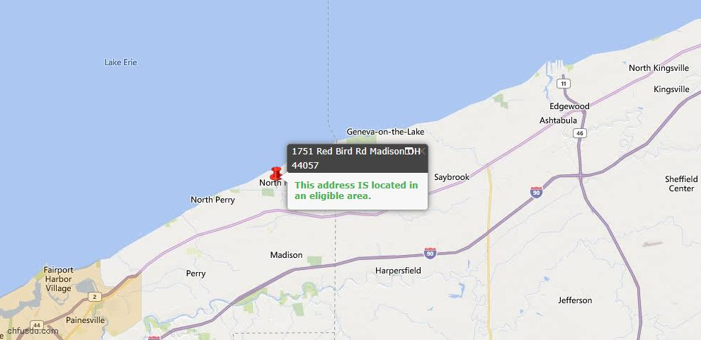 USDA Loan Eligiblity Map - 1751 Red Bird Rd, Madison, OH 44057