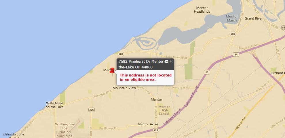 USDA Loan Eligiblity Maps From - Mentor-On-The-Lake, OH