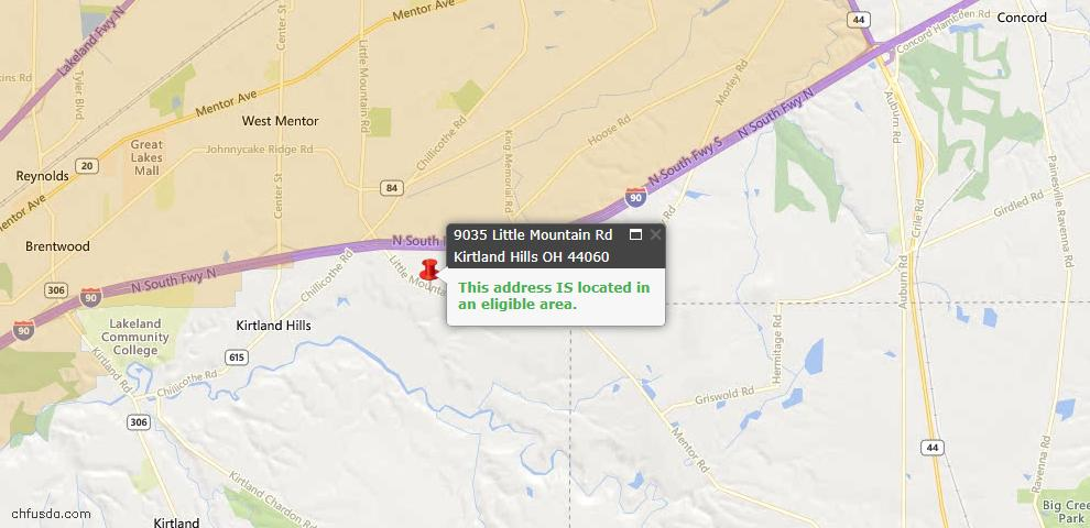 USDA Loan Eligiblity Maps From - Kirtland Hills, OH
