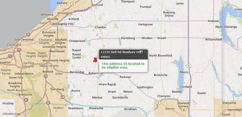 USDA Loan Eligiblity Map - 11232 Bell Rd, Newbury, OH 44065