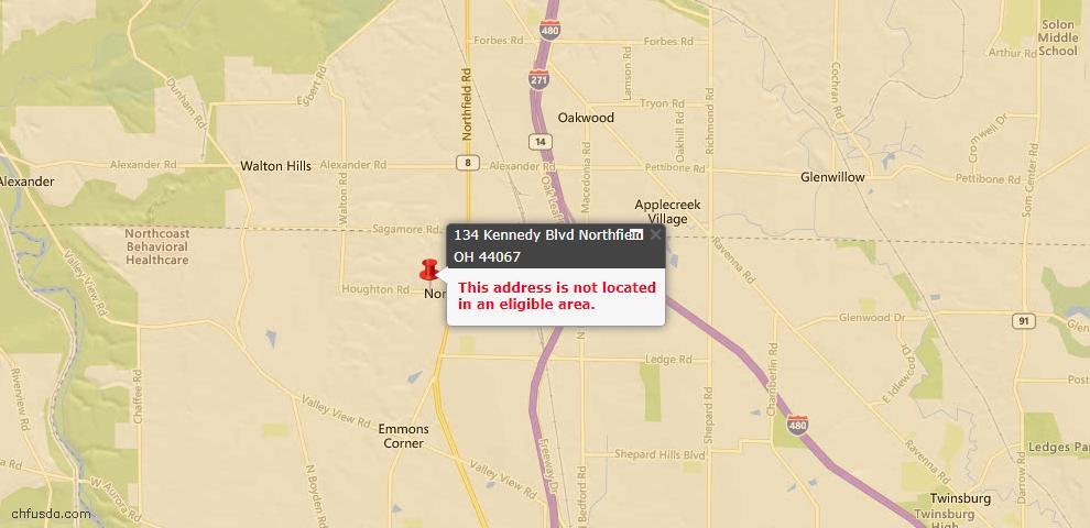 USDA Loan Eligiblity Maps From - Northfield Village, OH
