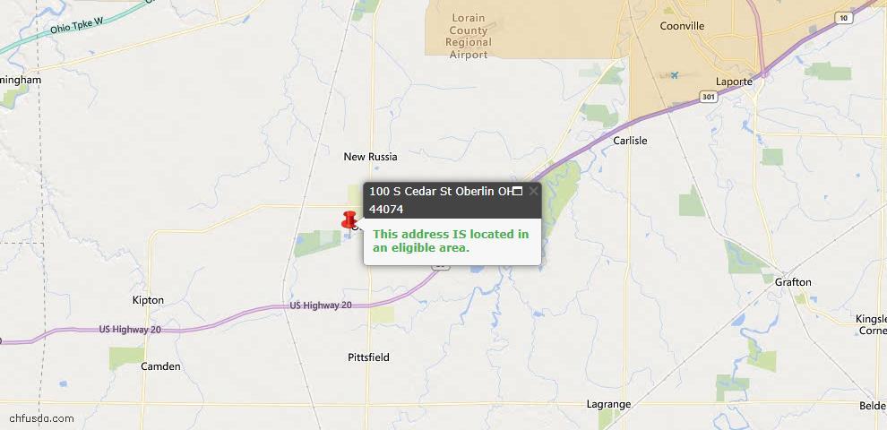 USDA Loan Eligiblity Map - 100 S Cedar St, Oberlin, OH 44074