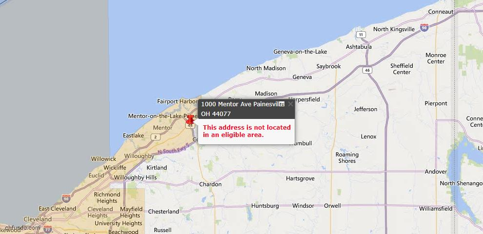 USDA Loan Eligiblity Map - 1000 Mentor Ave, Painesville, OH 44077