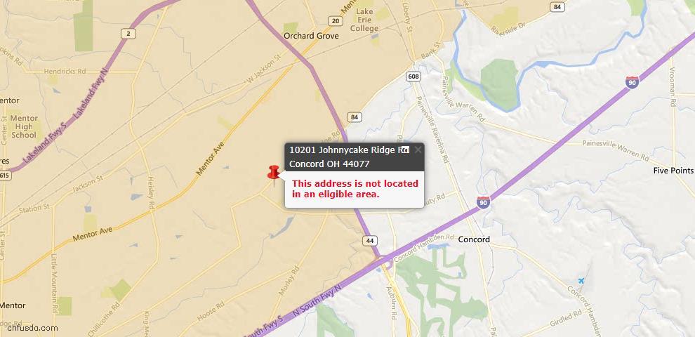 USDA Loan Eligiblity Map - 10201 Johnnycake Ridge Rd, Concord, OH 44077