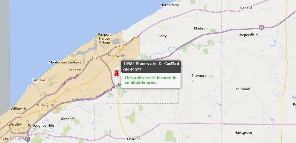 USDA Loan Eligiblity Map - 10985 Stonewycke Dr, Concord, OH 44077