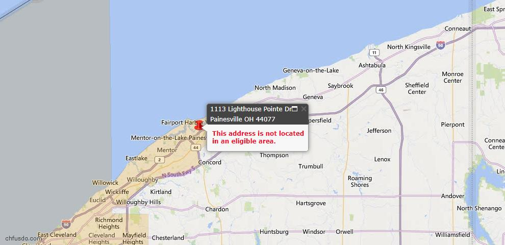 USDA Loan Eligiblity Map - 1113 Lighthouse Pointe Dr. Dr, Painesville, OH 44077