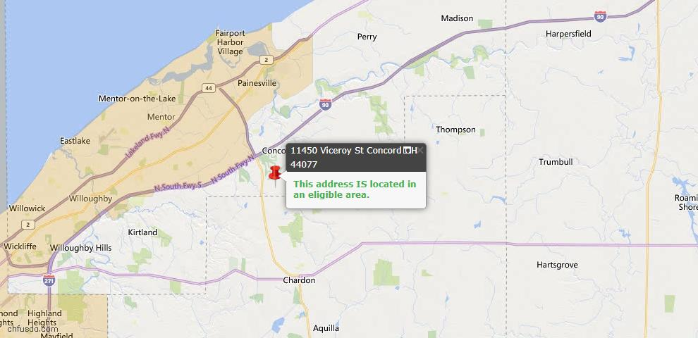 USDA Loan Eligiblity Map - 11450 Viceroy St, Concord, OH 44077