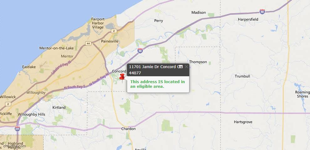 USDA Loan Eligiblity Map - 11701 Jamie Dr, Concord, OH 44077