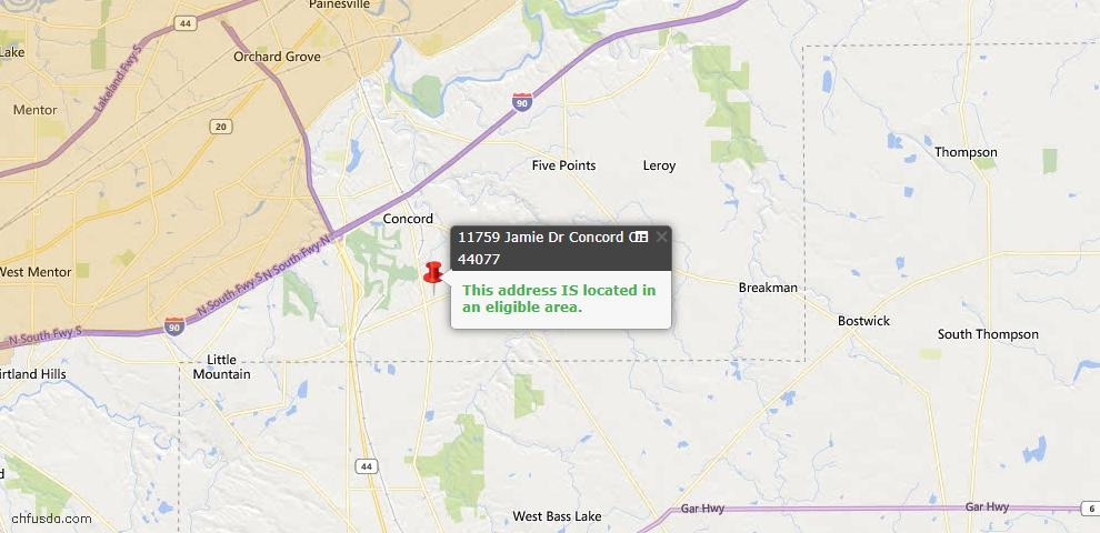 USDA Loan Eligiblity Map - 11759 Jamie Dr, Concord, OH 44077