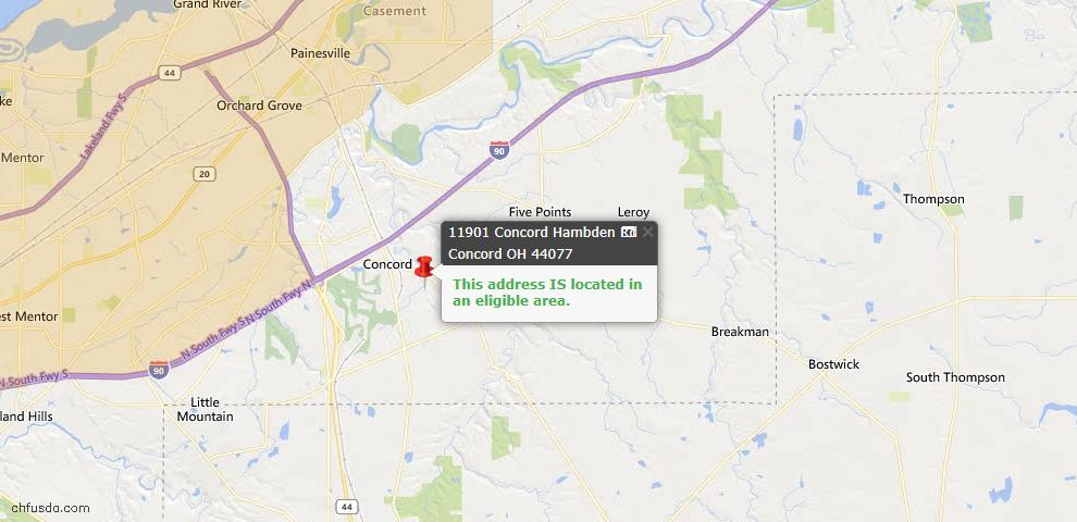 USDA Loan Eligiblity Map - 11901 Concord Hambden Rd, Concord, OH 44077