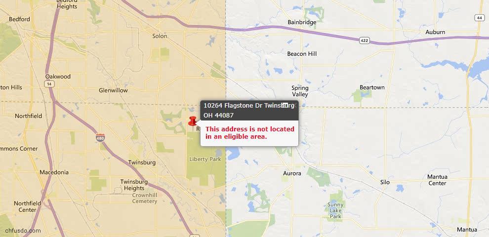 USDA Loan Eligiblity Map - 10264 Flagstone Dr, Twinsburg, OH 44087