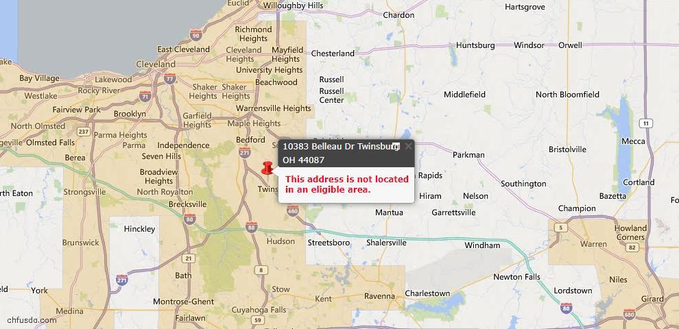 USDA Loan Eligiblity Map - 10383 Belleau Dr, Twinsburg, OH 44087