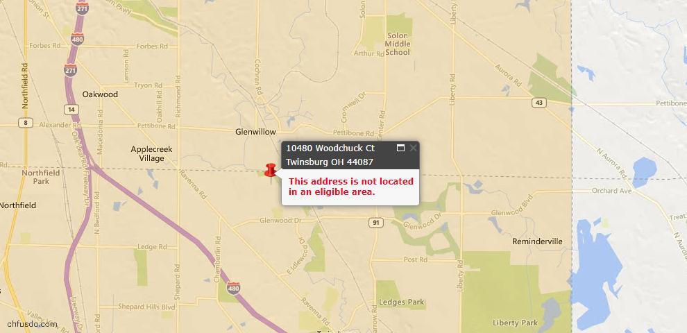 USDA Loan Eligiblity Map - 10480 Woodchuck Ct, Twinsburg, OH 44087