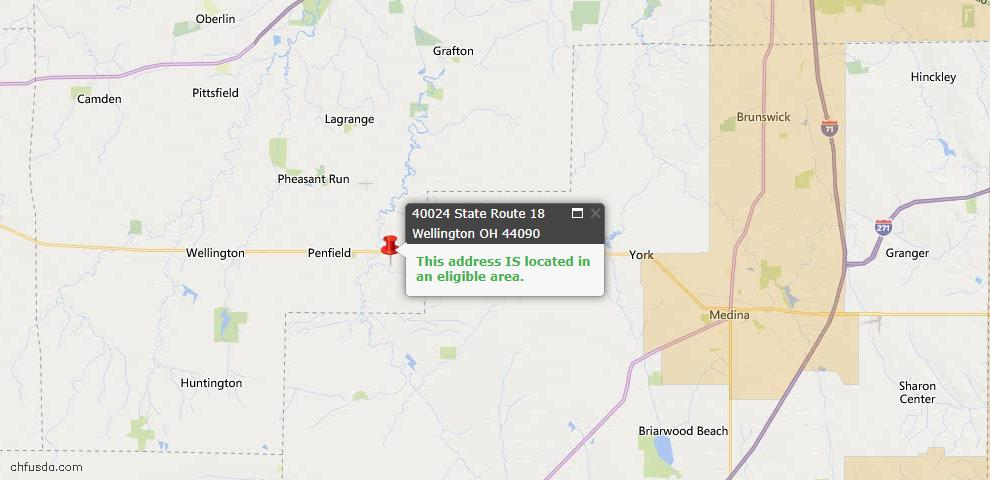 USDA Loan Eligiblity Map - 40024 State Route 18, Wellington, OH 44090
