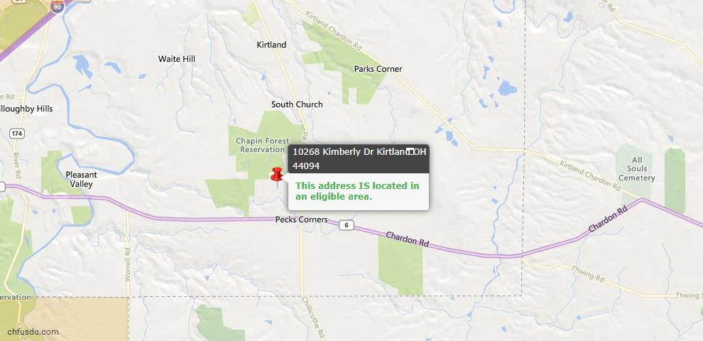 USDA Loan Eligiblity Map - 10268 Kimberly Dr, Kirtland, OH 44094