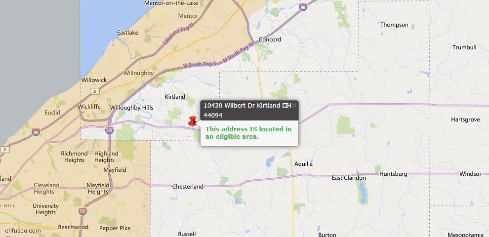 USDA Loan Eligiblity Map - 10430 Wilbert Dr, Kirtland, OH 44094