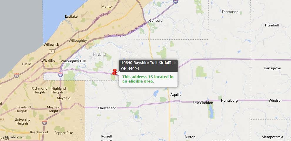 USDA Loan Eligiblity Map - 10640 Bayshire Trl, Kirtland, OH 44094