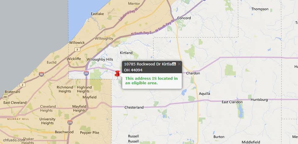 USDA Loan Eligiblity Map - 10785 Rockwood Dr, Kirtland, OH 44094