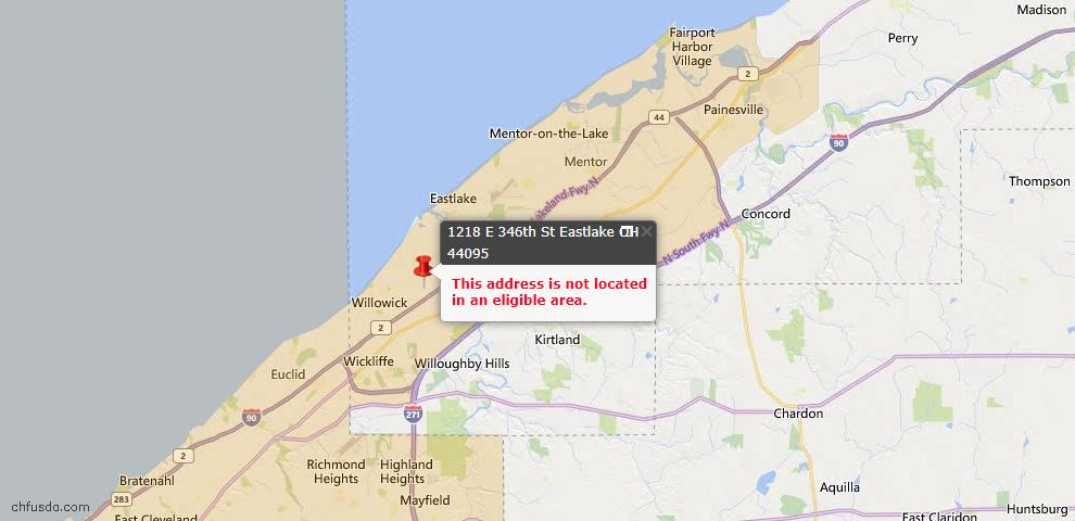 USDA Loan Eligiblity Map - 1218 E 346th St, Eastlake, OH 44095