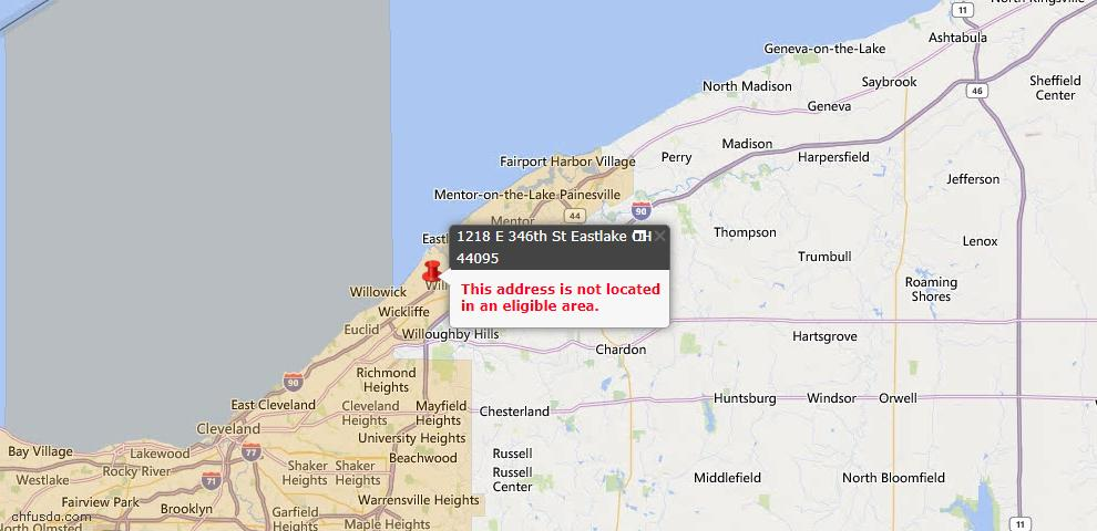 USDA Loan Eligiblity Map - 1218 E 346th St, Eastlake, OH 44095