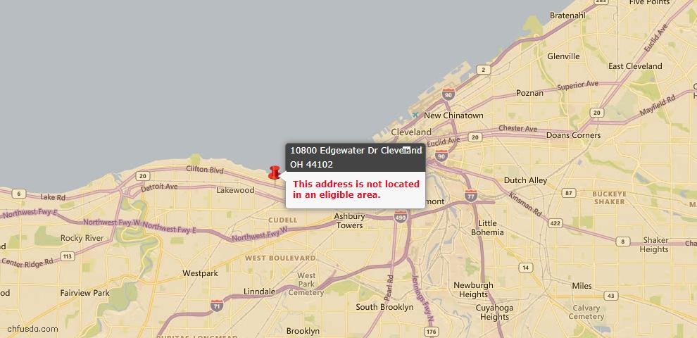 USDA Loan Eligiblity Map - 10800 Edgewater Dr, Cleveland, OH 44102