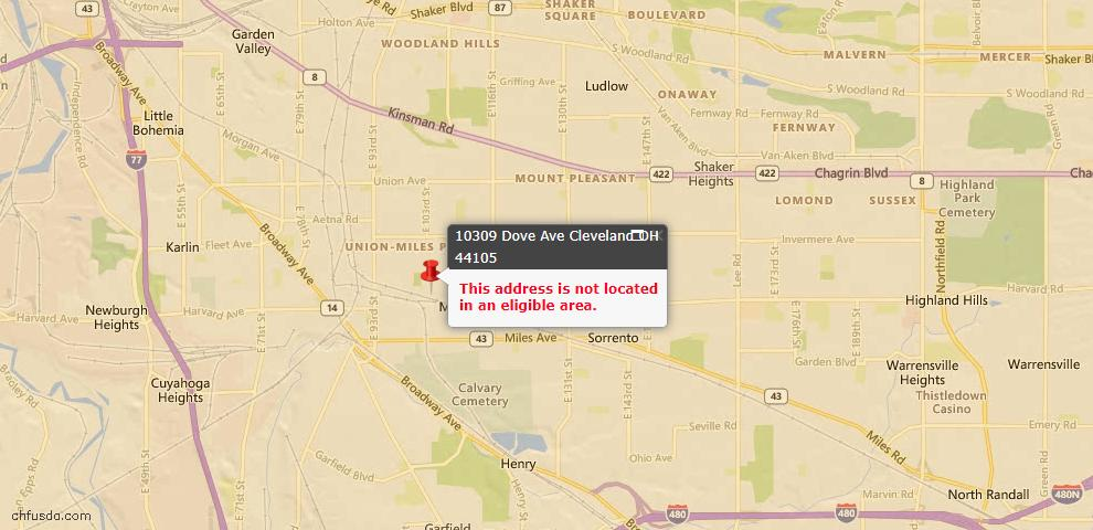 USDA Loan Eligiblity Map - 10309 Dove Ave, Cleveland, OH 44105