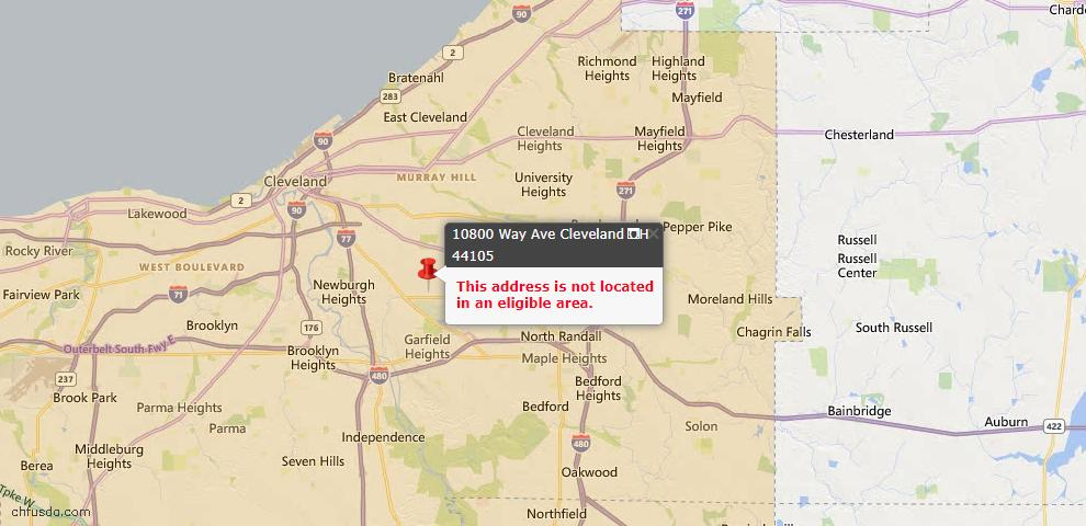 USDA Loan Eligiblity Map - 10800 Way Ave, Cleveland, OH 44105