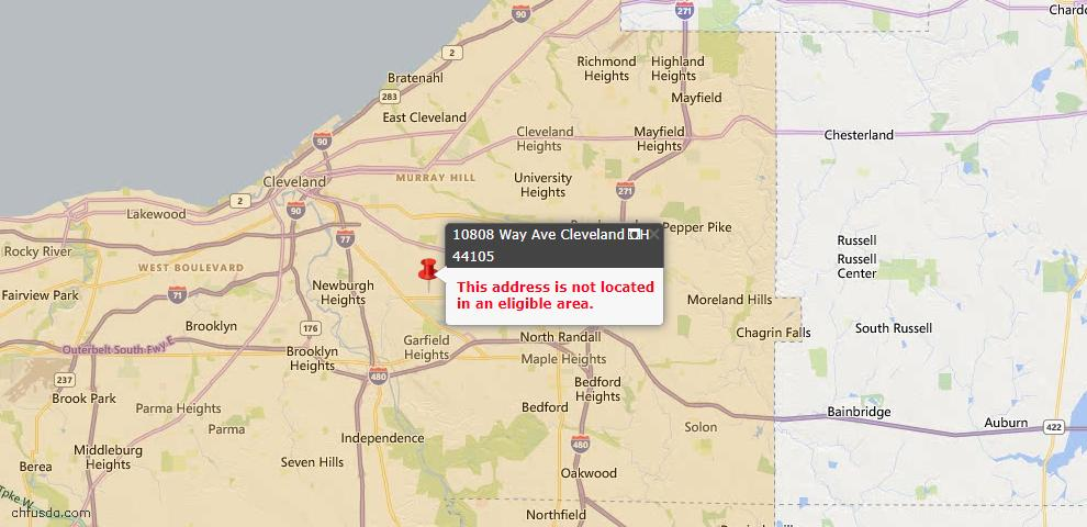 USDA Loan Eligiblity Map - 10808 Way Ave, Cleveland, OH 44105