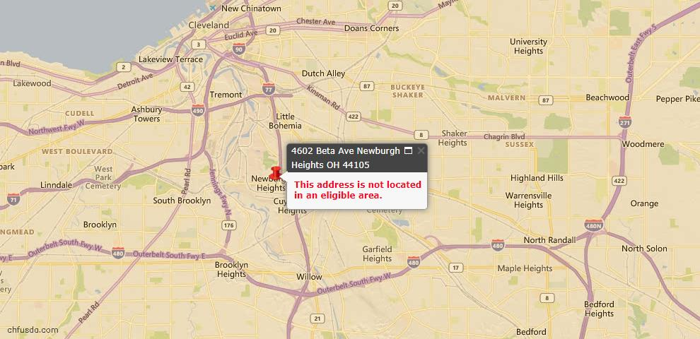 USDA Loan Eligiblity Maps From - Newburgh Heights, OH