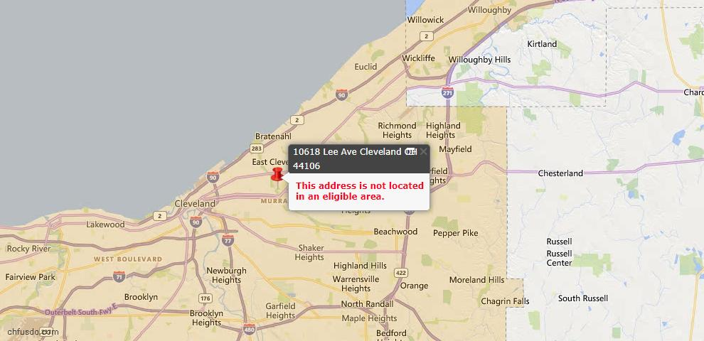 USDA Loan Eligiblity Map - 10618 Lee Ave, Cleveland, OH 44106