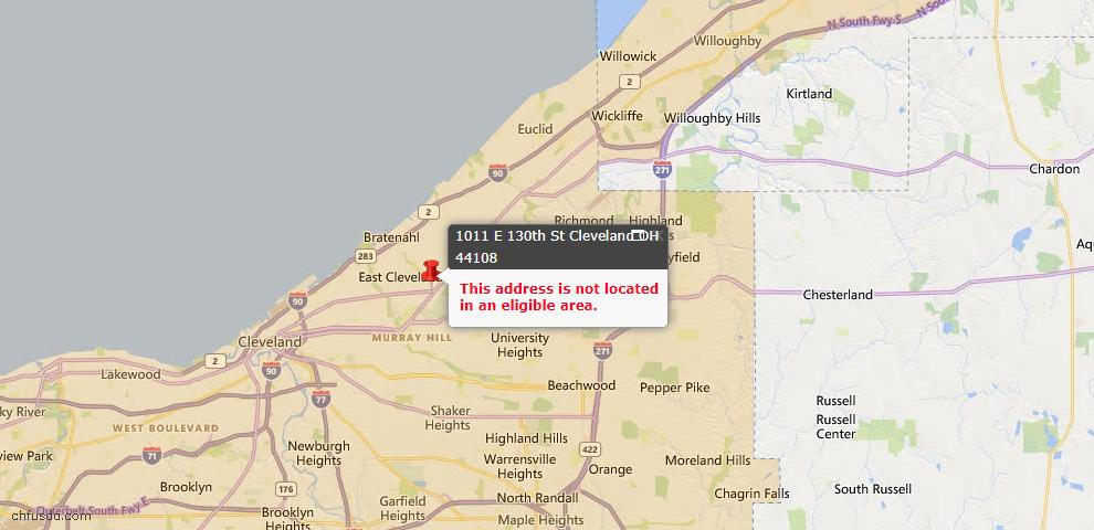 USDA Loan Eligiblity Map - 1011 E 130th St, Cleveland, OH 44108