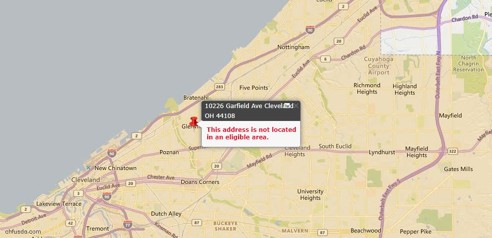 USDA Loan Eligiblity Map - 10226 Garfield Ave, Cleveland, OH 44108