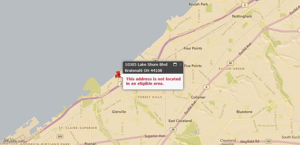 USDA Loan Eligiblity Map - 10305 Lake Shore Blvd, Bratenahl, OH 44108