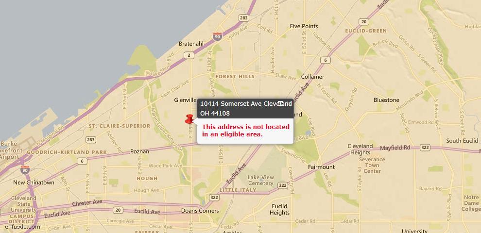 USDA Loan Eligiblity Map - 10414 Somerset Ave, Cleveland, OH 44108