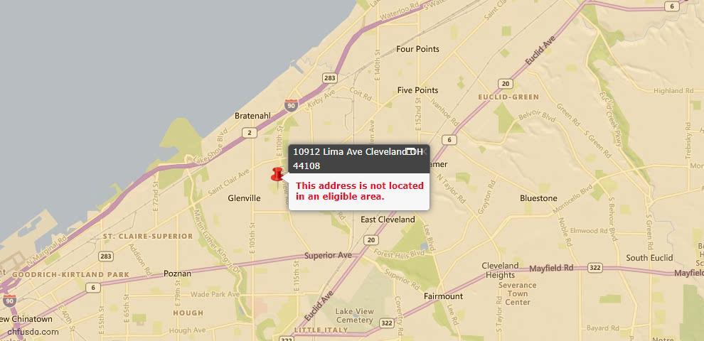USDA Loan Eligiblity Map - 10912 Lima Ave, Cleveland, OH 44108