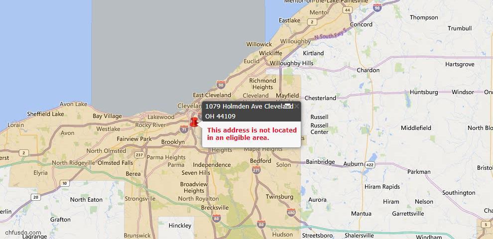 USDA Loan Eligiblity Map - 1079 Holmden Ave, Cleveland, OH 44109