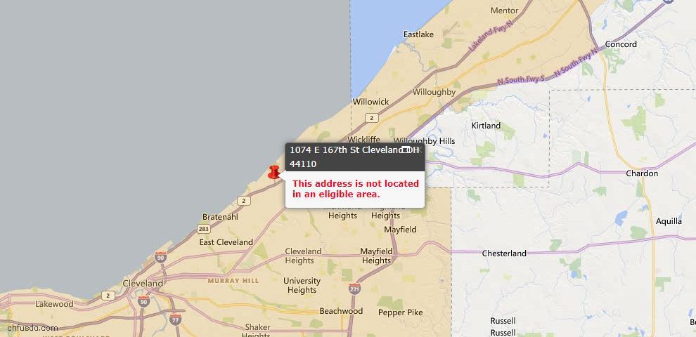 USDA Loan Eligiblity Map - 1074 E 167 St, Cleveland, OH 44110
