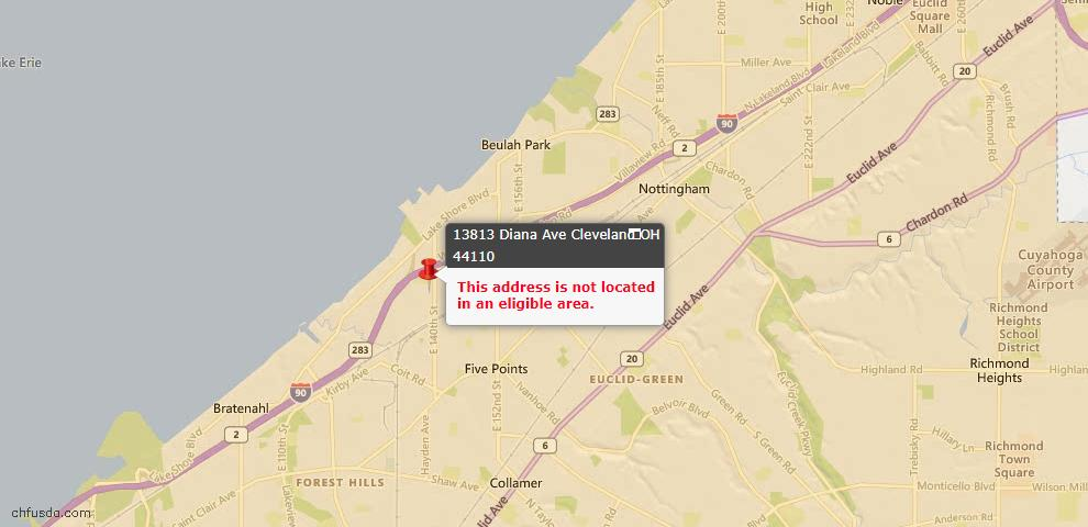 USDA Loan Eligiblity Maps From - 44110, OH