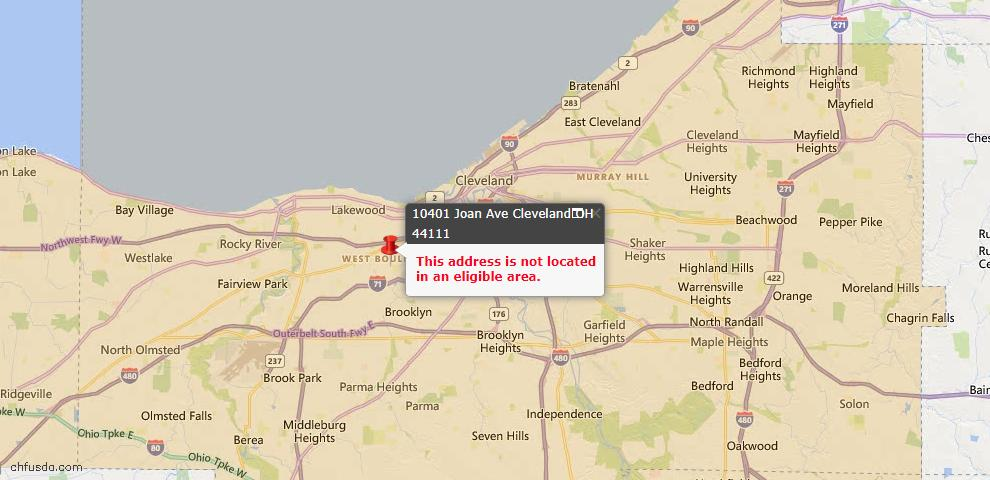 USDA Loan Eligiblity Map - 10401 Joan Ave, Cleveland, OH 44111