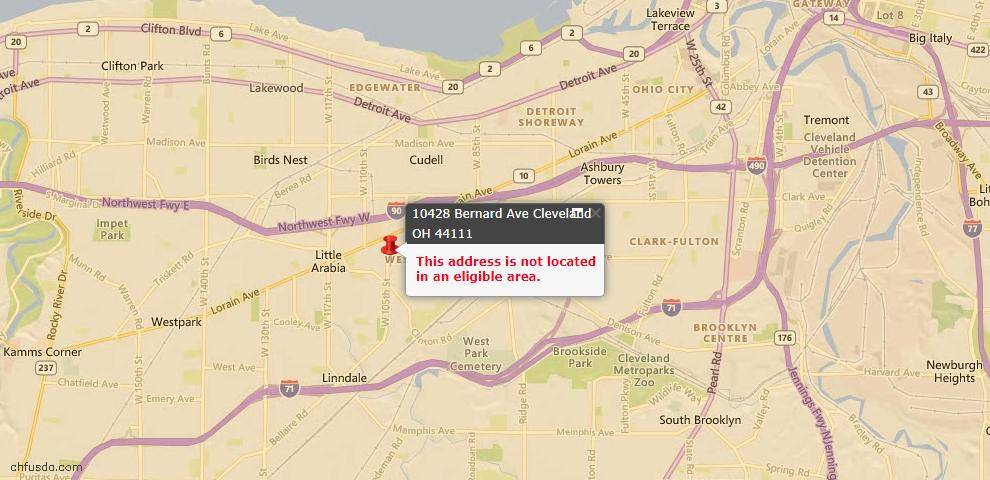 USDA Loan Eligiblity Map - 10428 Bernard Ave, Cleveland, OH 44111