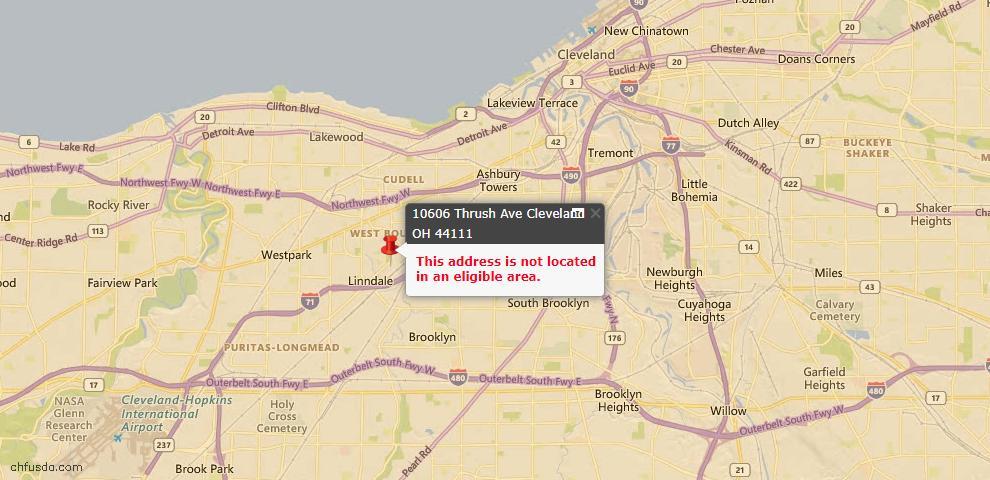 USDA Loan Eligiblity Map - 10606 Thrush Ave, Cleveland, OH 44111