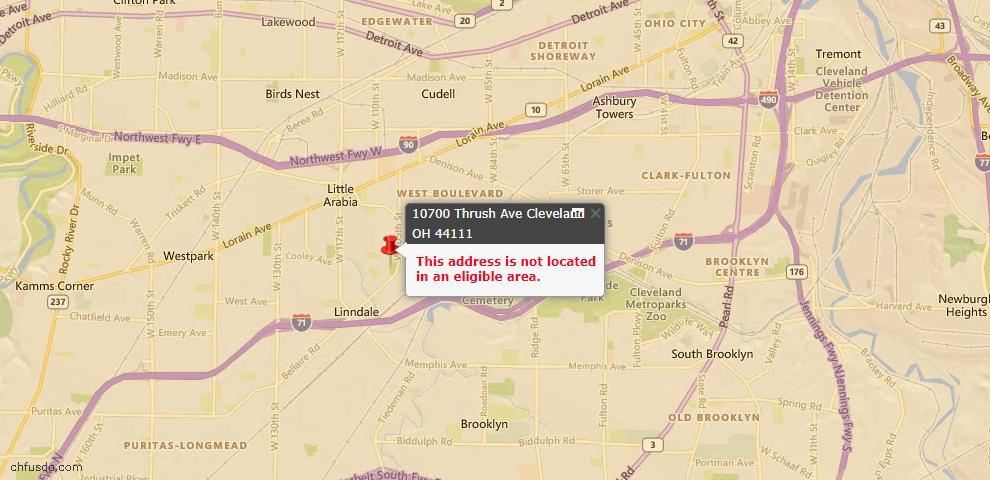 USDA Loan Eligiblity Map - 10700 Thrush Ave, Cleveland, OH 44111