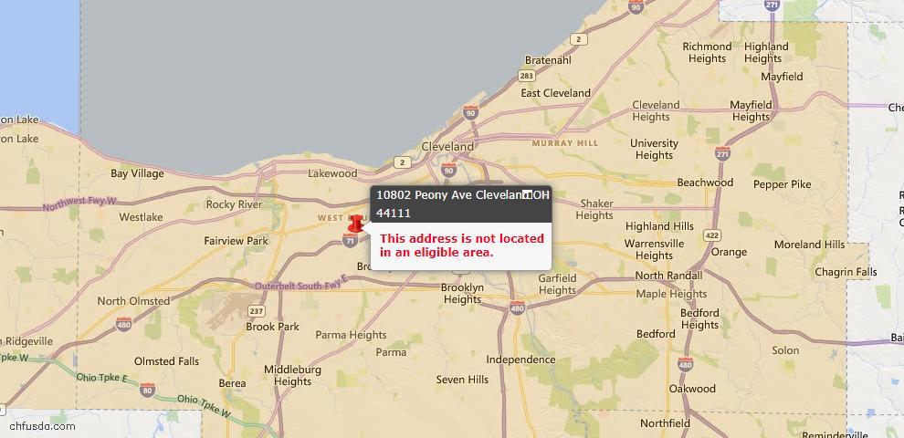 USDA Loan Eligiblity Map - 10802 Peony Ave, Cleveland, OH 44111
