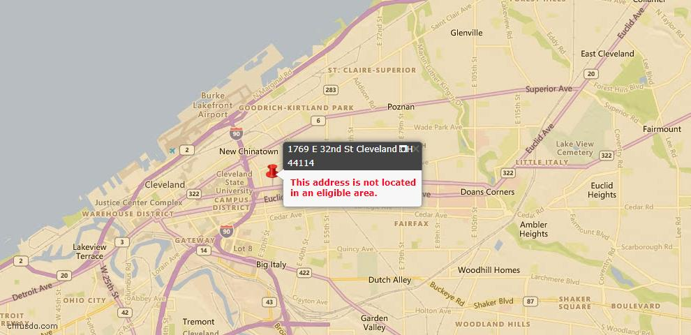 USDA Loan Eligiblity Maps From - 44114, OH