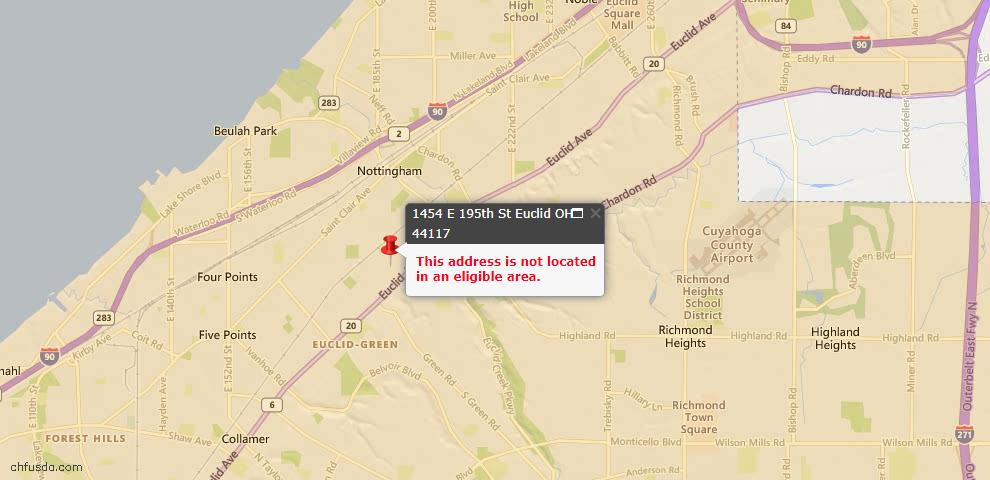 USDA Loan Eligiblity Map - 1454 E 195th St, Euclid, OH 44117
