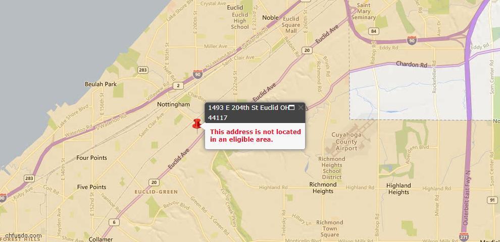 USDA Loan Eligiblity Map - 1493 E 204th St, Euclid, OH 44117