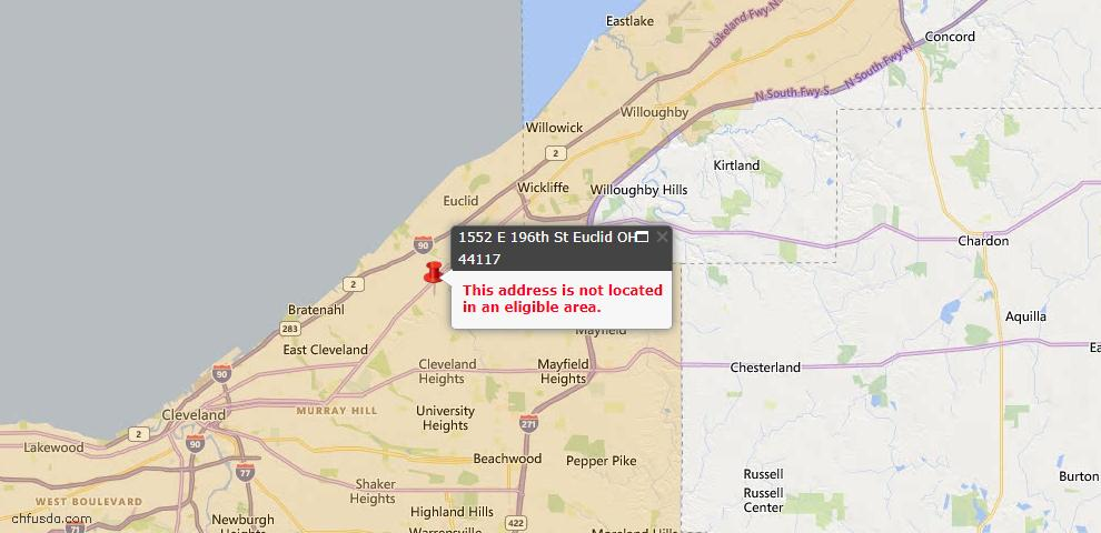 USDA Loan Eligiblity Map - 1552 E 196th St, Euclid, OH 44117