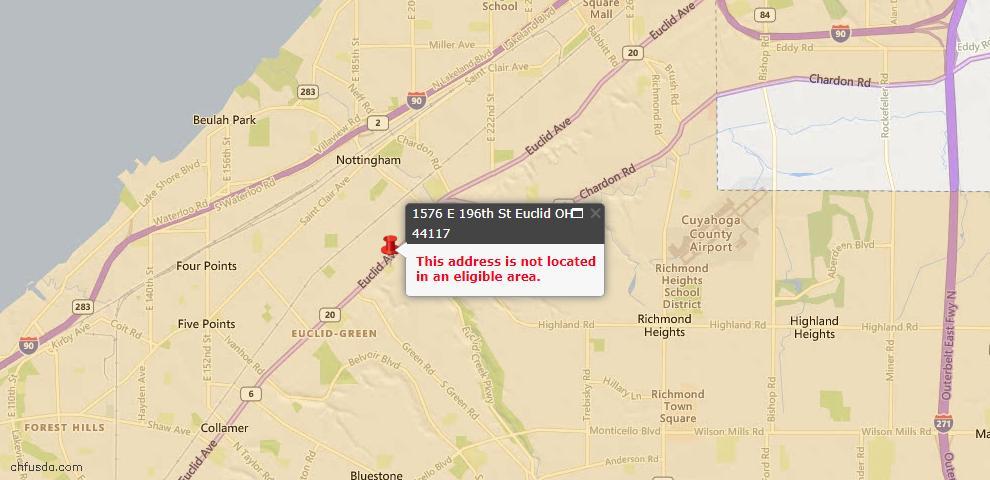 USDA Loan Eligiblity Map - 1576 E 196th St, Euclid, OH 44117