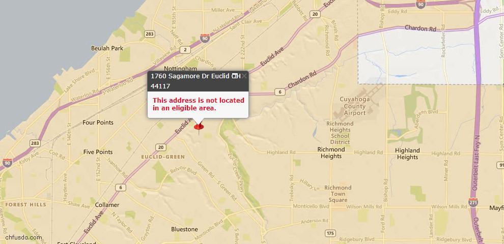USDA Loan Eligiblity Map - 1760 Sagamore Dr, Euclid, OH 44117